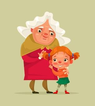 행복 미소 할머니와 손녀 캐릭터 일러스트