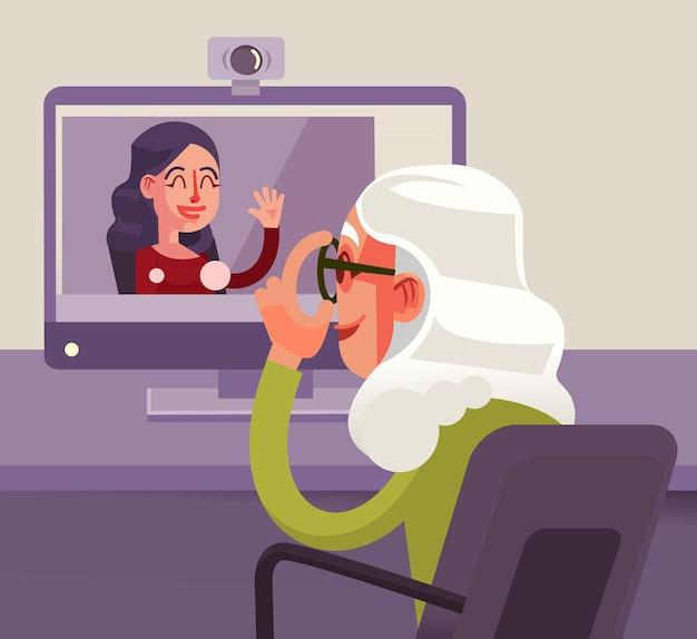 Счастливый улыбающийся персонаж бабушки разговаривает со своей внучкой по интернету