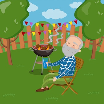 Happy smiling grandpa grilling barbecue outside while sitting on the chair, senior man having outdoor barbecue   illustration