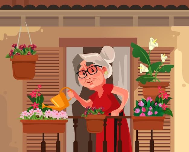 Счастливая улыбающаяся бабушка бабушка бабушка поливает цветы завод иллюстрации