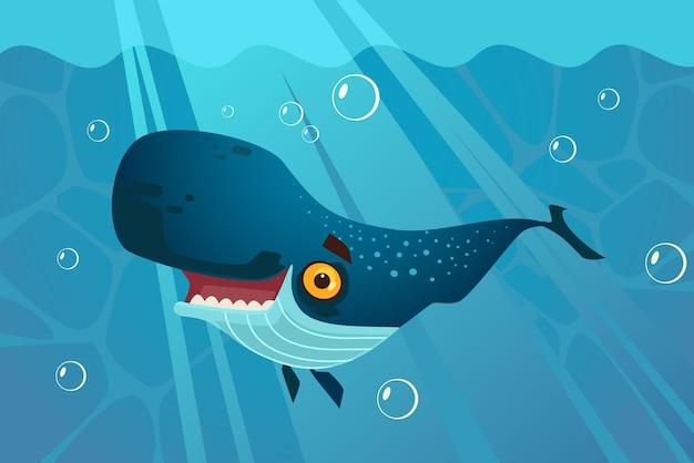 幸せな笑顔の素晴らしいシロナガスクジラのキャラクターが水中を泳ぐ