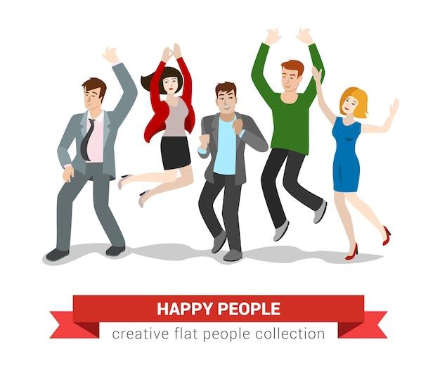 幸せな笑顔の走り高跳びの若者グループ。フラットスタイルのクリエイティブな人々のコレクション。