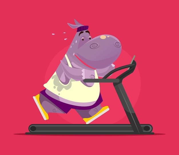Happy smiling hippopotamus character doing exercises on treadmill