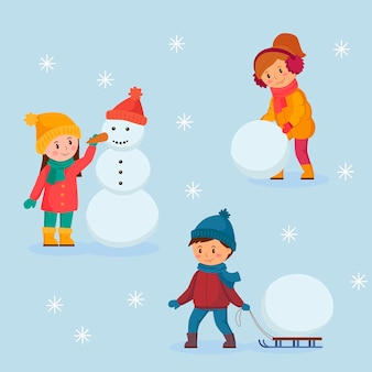 雪だるまを作る冬の幸せな笑顔の子供たち。ベクトルイラスト。