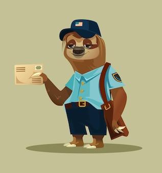 Happy smiling lazy sloth postman animal character mascot