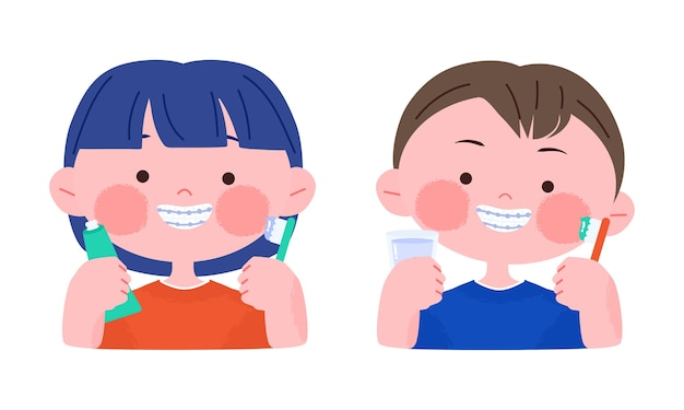 Счастливый улыбающийся маленький мальчик и девочка с зубными скобами, держа зубную щетку. нарисованная рукой иллюстрация персонажа из мультфильма