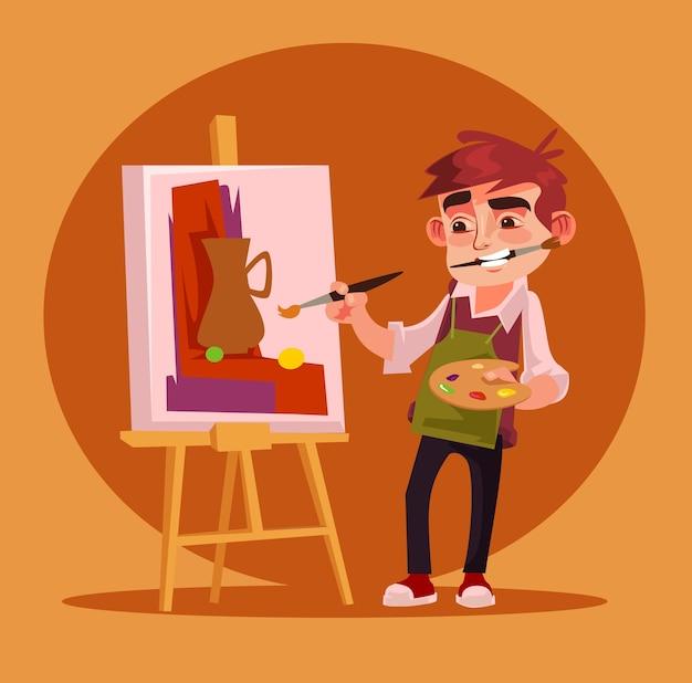 幸せな笑顔の小さな男の子のアーティストのキャラクターの絵を描きます。