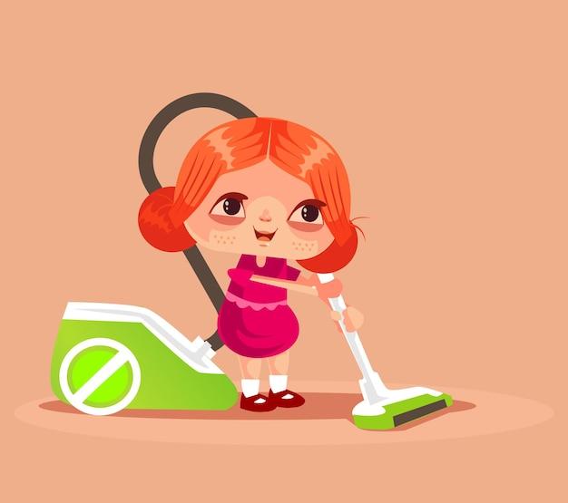 幸せな笑顔の小さな女の子のキャラクターは、母親を助け、掃除機で家の床を掃除します。ハウスキーピングコンセプト分離漫画