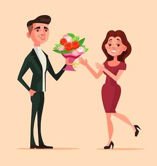 Счастливый улыбающийся мужчина персонаж дарит цветы женщине. романтические свидания, любовь парня и девушки