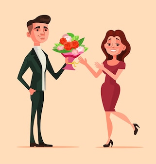 Happy smiling man character giving flowers woman. romance dating love boyfriend and girlfriend