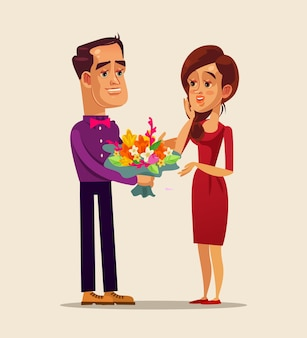 Happy smiling man character giving flowers woman