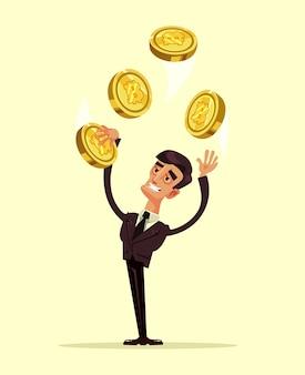 Счастливый улыбающийся персонаж держит биткойн. плоский мультфильм иллюстрации