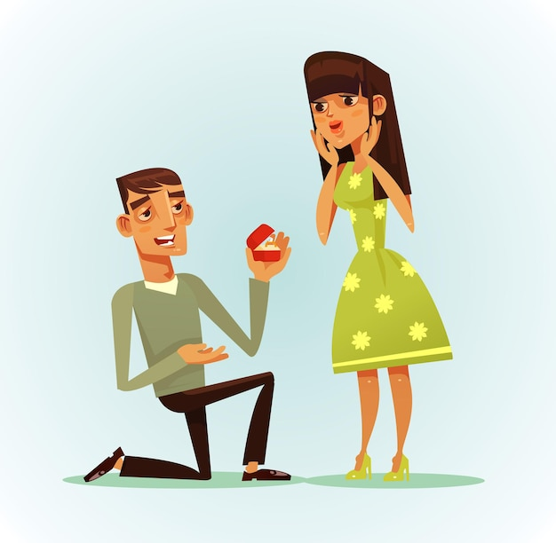 Happy smiling man character proposing woman to be his wife