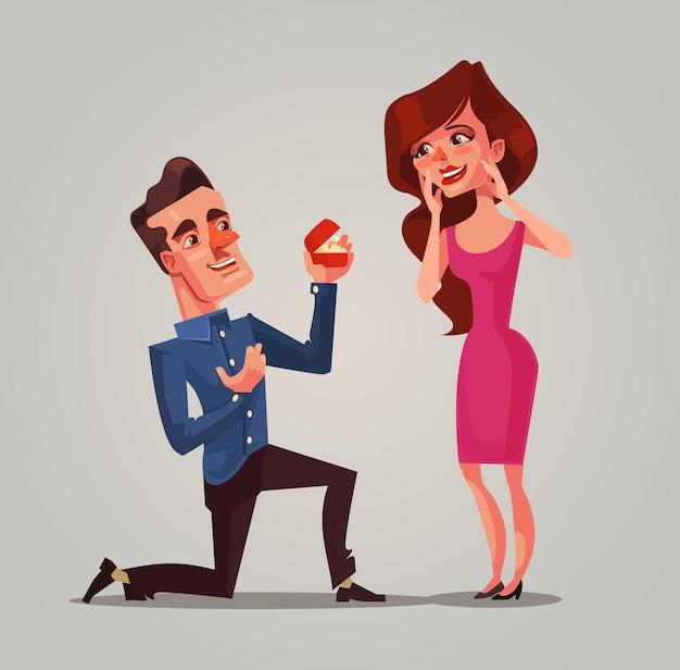 幸せな笑顔の男性新郎のキャラクターが膝の上に立って、女性の花嫁を妻にすることを提案