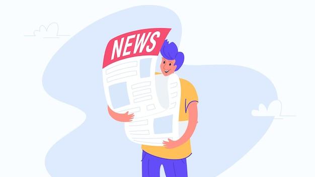 最大の新聞を抱き締める幸せな笑顔の男