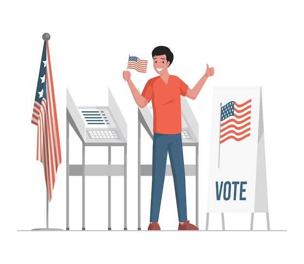 投票スタンドの近くに立って、米国の旗を持って、親指を立てるイラストを見せて、モダンな服を着た幸せな笑顔の男。