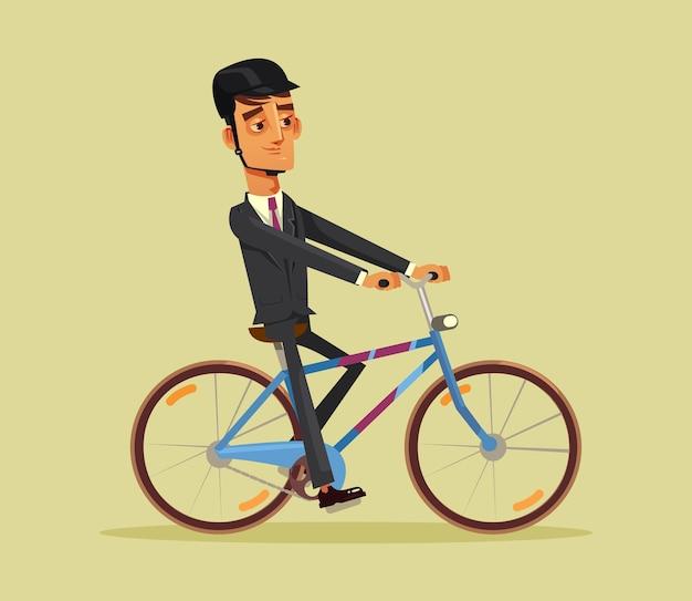 幸せな笑顔の男のサラリーマンが自転車イラストの仕事に行きます