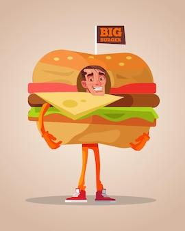 ハンバーガースーツに身を包んだ幸せな笑顔の男のプロモーターキャラクターマスコット