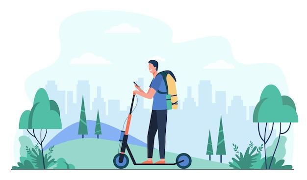 歩道の平らなイラストでキックスクーターに乗って幸せな笑顔の男。電動スクーターを使用した漫画のヒップスター