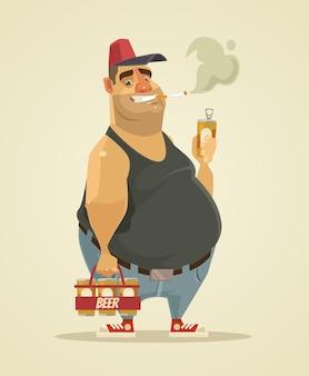 幸せな笑顔の男はタバコを吸ってビールを飲みます。