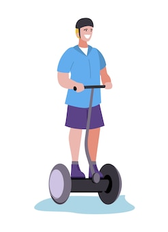 Happy smiling man walking segway  cartoon