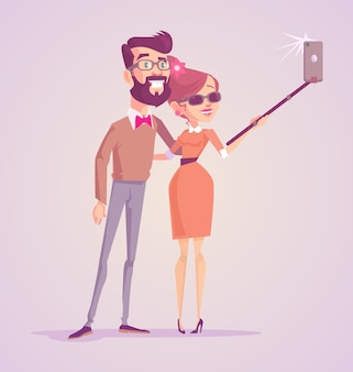 写真selfieを作る幸せな笑顔の男性女性カップル