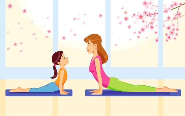 Happy smiling mother and daughter together doing yoga exercises at home