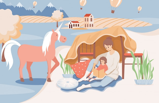 Happy smiling mother reading a book to her daughter before going sleep flat illustration.