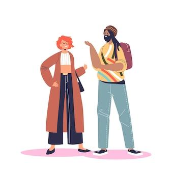 이야기 하는 친구의 행복 한 미소 다국적 커플입니다. 젊은 다민족 다양한 사람들이 이야기합니다. 국적 및 다양성 개념입니다. 만화 평면 벡터 일러스트 레이 션