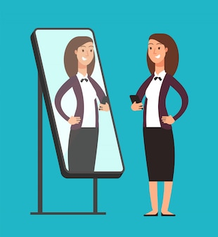 Happy smiling narcissistic confident businesswoman looking at reflection in mirror.