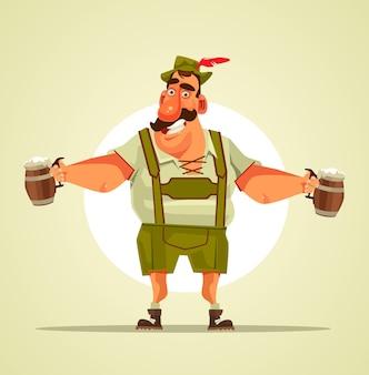 Счастливый улыбающийся персонаж октоберфест, держащий кружку пива