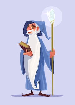 Happy smiling old magician character with white beard hold magic book.