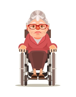 Happy smiling old woman character sitting in wheelchair Premium Vector