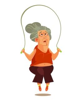 Счастливая улыбающаяся старуха бабушка делает упражнения фитнес тренировки