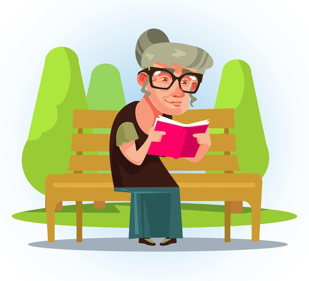 Happy smiling old woman grandmother read book