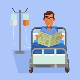 Happy smiling patient laying in bed and reading newspaper flat cartoon illustration