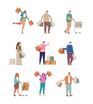 쇼핑백 판매 할인 검은 금요일 개념으로 행복 웃는 사람들 소비자