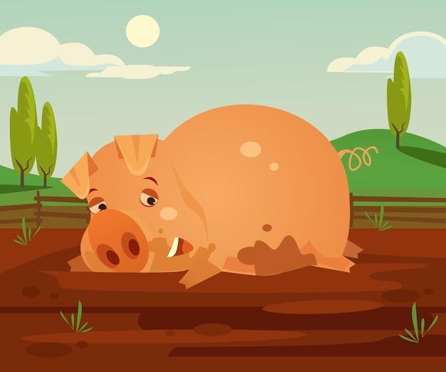 Счастливый улыбающийся персонаж свиньи, развлекающийся в грязных