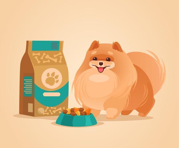 음식을 기다리는 행복 미소 포메라니안 스피츠 개 캐릭터