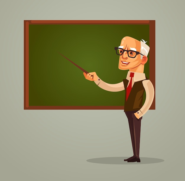 Happy smiling professor teacher old man character pointing on blackboard flat cartoon illustration