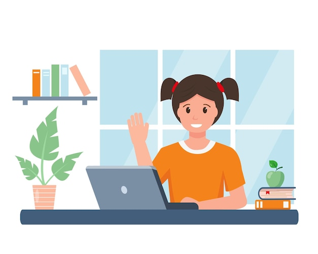 Happy smiling pupil girl studying online at home young girl with laptop in room online education