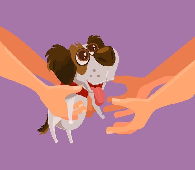선물로 사람에게주는 행복 웃는 강아지 캐릭터