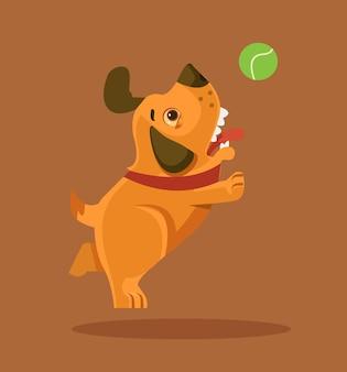 공을 가지고 노는 행복 한 미소 강아지 캐릭터