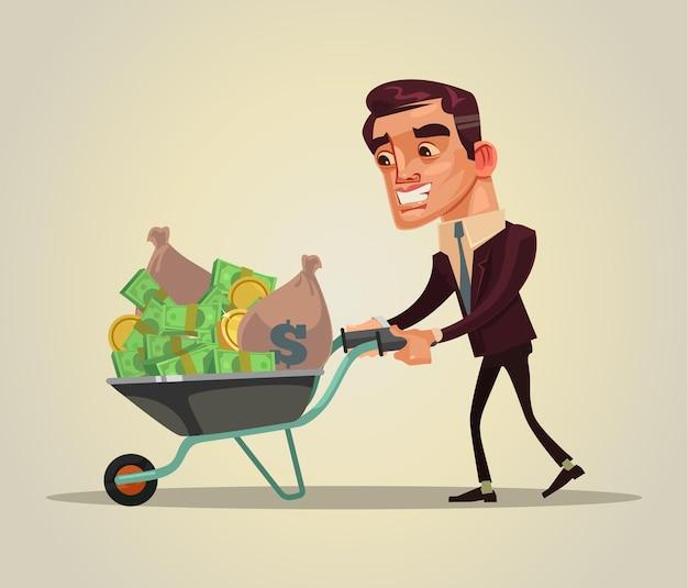 幸せな笑顔の金持ちのビジネスマンのキャラクターは、お金でいっぱいの手押し車を保持しますフラット漫画イラスト