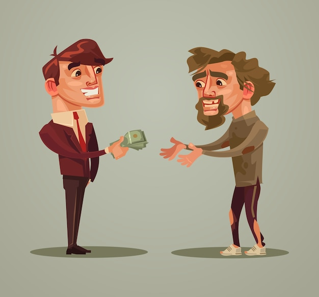 Happy smiling rich man character gives money homeless charity donation concept cartoon illustration
