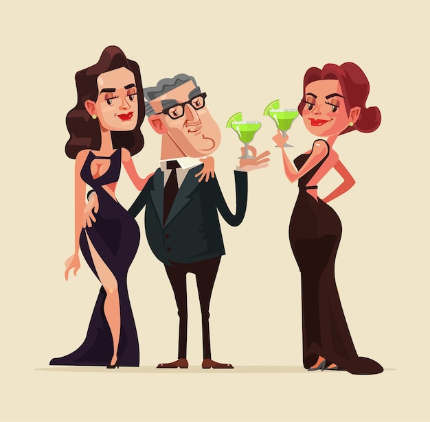Счастливый улыбающийся богатый персонаж старика с моделями молодых женщин красоты.