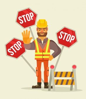 Happy smiling road worker man character show stop sign. flat cartoon illustration