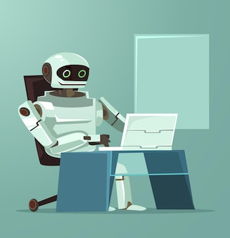 Happy smiling robot office worker character working at computer