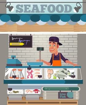 Happy smiling sales man character sell seafood food market concept