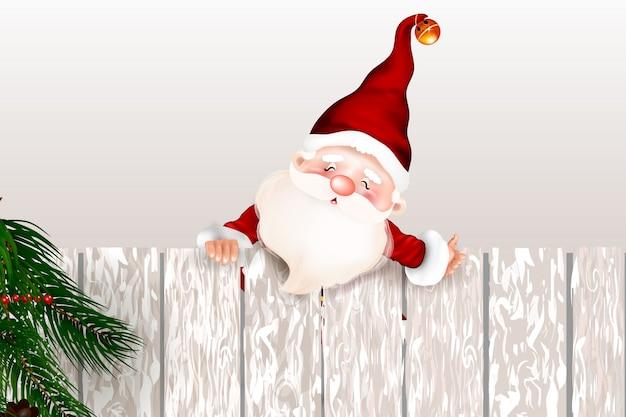 幸せな笑顔のサンタクロースが空白記号の後ろに立って、大きなltht空白記号を示します。クリスマスカード。キリストの降誕の象徴。メリークリスマス。